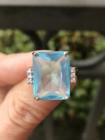 6Ct Emerald Cut Aquamarine Solitaire Engagement Ring Solid 14K White Gold Finish