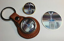 2#  ROLLS ROYCE MOTORS  LEATHER KEY RING & GOLD PLATED BADGE + FREE R.R. STICKER
