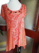 "Per Una Embellished Patchwork Shark bite Hem Tunic Top 14 39"" BNWT £29.50 *BNWT*"