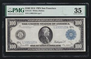 US 1914 $100 FRN San Francisco FR 1131 PMG 35 Ch VF (123)