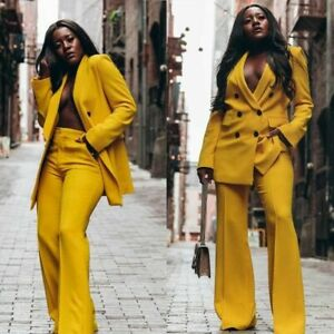 Yellow Women Suits Double-Breasted 2 Pcs Business Work Wear Dinner Prom Blazers