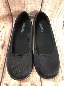 Skechers Goga Max Women's Black Lace Overlay Slip On Shoes Size 10 EUC