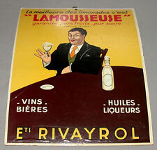 Original 1930's Rivayrol Limonade Advertising Cardboard Sign