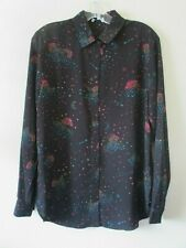 WAREHOUSE TOP Blouse  BLACK PINK CLOUDS STARS Shirt  Sz 10 NEW