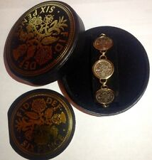 Genuine Sixpence Coin Bracelet Vintage Penny Fashion