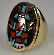 RARE Zuni 14K SOLID Gold Handmade P & P Natachu Rainbowman Ring Size 7.5