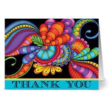 24 Note Cards - Paisley Floral Thank You Aqua - Plum Purple Envs