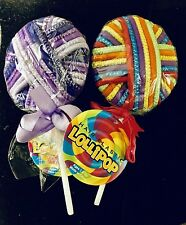 2 Lollypops 48 PCS  Elastic Hair Ties Bands Ponytail Holder Purples & Rainbow