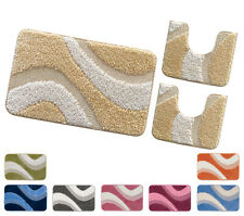 Teppich Badezimmer Parure Set 3 Stück Made IN Italy Z-Falz Anti-rutsch Waschbar