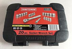 """CRAFTSMAN 34864 20 PC SOCKET WRENCH SET 3/8"""" DR METRIC & SAE 44811 W/RATCHET USA"""