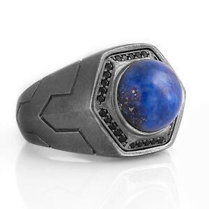 Mens Lapis Lazuli Ring Lapis Rings For Man Oxidized Silver Signet Ring Gift Him