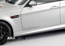 Powered by V6 SPORT Racing Vinyl Decal speed car emblem logo door sticker SILVER