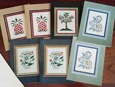 Set of 7 NOTE CARDS & Env w/ Framed Needlework designs; Pineapple, Tree, Flowers