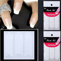 10 Packs French Manicure Nail Art Form Fringe Guides Sticker DIY Stencil Tools