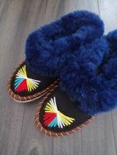 UK5 Sheepskin Slippers Moccasins Natural Leather Wool Warm Fluffy