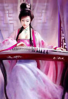 Wonderful Oil painting beautiful Chinese young girl beauty playing Guzheng