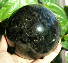 108mm Golden Flash Russian Astrophylite with Garnet and Pyrite Sphere Ball #6496