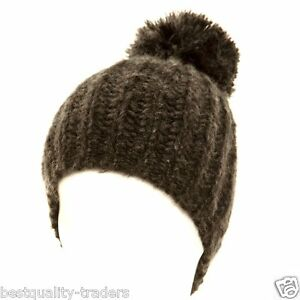 Ladies Chunky Knit Ski  Woolly Hat With Bobble  Women  Winter Wear Hat One Size
