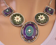 """Enameled Pewter w Rhinestone Accents on 16"""" Steel Wheat Chain w 2.5"""" Extender"""