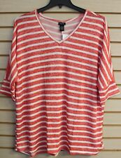 NEW WOMENS PLUS SIZE 3X CORAL STRIPED NAUTICAL SUPER SOFT DOLMAN TEE SHIRT TOP