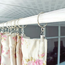 20Stk Mehrzweck Fenster Vorhang Metallklammern mit Ring Haken Clips Silber