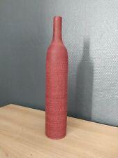 Long soliflore vase burgundy red signed em ceramics
