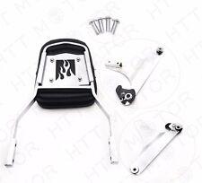 Detachable Backrest Sissy Bar Chrome Flame For 84-99 Harley Softail FXSTC FLSTC