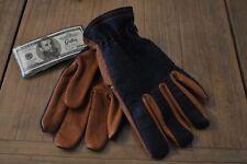 56e9676a914 Gants cuir bison marron et denim pour homme - Marque Grifter - USA - Taille  L