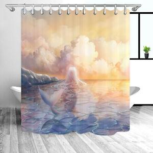 Mermaid Decor Shower Curtain Set, Creative Sea Decor Shower Cutains for Bathroom