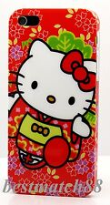 for iphone 5 5s  hello kitty red white w/ red bow and flower hard case + film