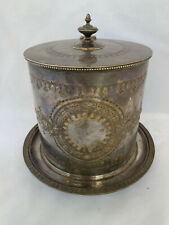 HW & Co. Repousse Rare Antique Biscuit Barrel, Birmingham, England 1876-1893
