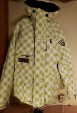 Mens Burton Snowboard Ski Jacket Plaid Zip Pockets Hood Green Drawstrings Zip