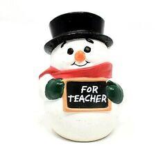 Rare 1988 Merry Miniature Christmas Snowman + Tophat For Teacher Ornament Cute