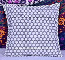 INDIAN COTTON WHITE POLKA DOT PRINTED GRAY CUSHION COVER THROW ETHNIC SOFA DECOR
