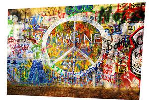 graffiti wall street art Print Canvas painting Lennon imagine license Super Size