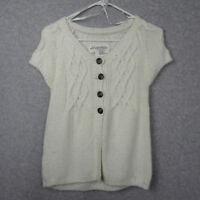 Aeropostale Womens Size Large White Chunky Cardigan Sweater Short Sleeve