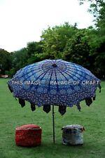 Indian Cotton Garden Umbrella Peacock Mandala Round Patio Sunshade Parasol Decor