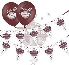 """Happy Fathers Day Bunting & 12"""" Brown Latex Balloons - BBQ King - pack of 6"""