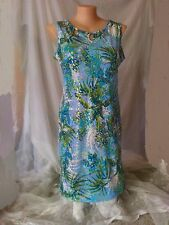 Stunning Blue GOLD LEAF print xmas christmas Party dinner celebration DRESS 22