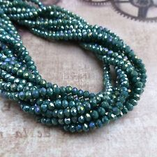 Strand of 150 Beads Faceted Mini Rondelle Beads Sparkly Glass Beads Sea Green