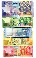 GHANA SET 5 pcs 2014-2017 1 2 5 10 20 CEDIS UNC-NEW