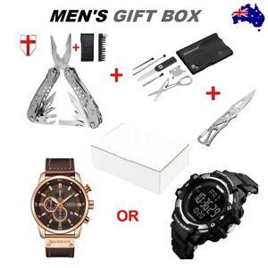 Mens Gift Idea Box Fathers Day Birthday Christmas Multitool Watch Pocket Knife
