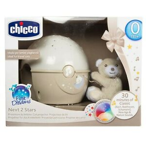 CHICCO NEXT 2 STARS PROJECTOR BABY NIGHT LIGHT Neutral Colour & Soft Toy