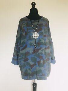 Italian Lagenlook Blue / Green Camo Print Sweatshirt - UK Size 14 16 18 20 22