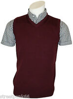 Relco Mens Burgundy Knitted Tank Top Retro Mod Skin Skinhead Ska Northern Soul