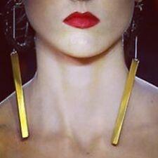 CELINE Gold Slim Chain Drop Statement Earrings