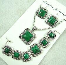 Women Tibetan Silver malachite Pendant Necklace Bracelets, earrings   AG-4