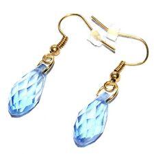 Boucles d'oreilles couleur or grosse goutte cristal bleu ciel bijou earring