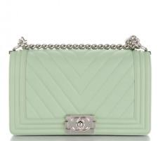 594c28f59d54ed CHANEL Boy Chevron Quilted Calfskin Medium Mint Green Leather Shoulder Bag