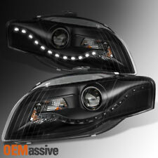 2006-2008 Audi A4 DRL LED Projector Halogen Type Black Both Headlights Assembly